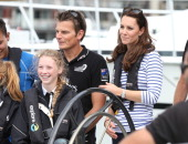 Team New Zealand's Dean Barker and Catherine Duchess of Cambridge return from sailing where the Duchess and her crew beat Prince William and his crew...