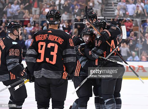Team North America celebrate after a second period goal on Team Russia during the World Cup of Hockey 2016 at Air Canada Centre on September 19 2016...