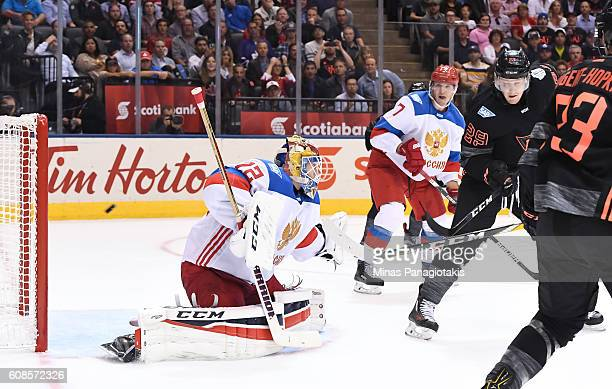 Team North America gets the puck past Sergei Bobrovsky of Team Russia to score a second period goal during the World Cup of Hockey 2016 at Air Canada...