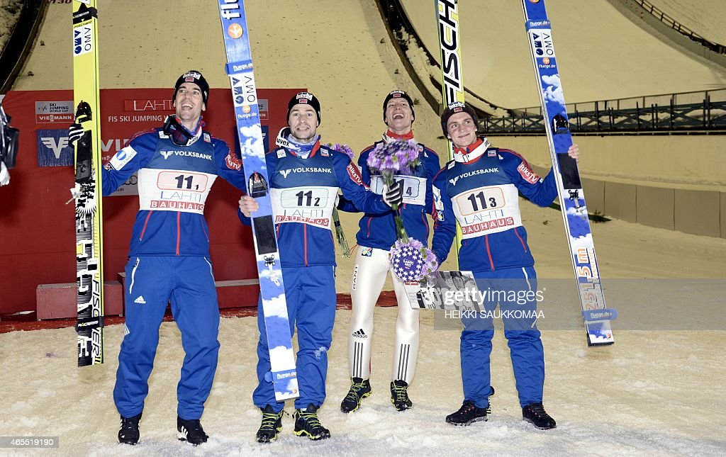 Team Norway (l-r), <a gi-track='captionPersonalityLinkClicked' href=/galleries/search?phrase=Anders+Bardal&family=editorial&specificpeople=2146620 ng-click='$event.stopPropagation()'>Anders Bardal</a>, <a gi-track='captionPersonalityLinkClicked' href=/galleries/search?phrase=Anders+Jacobsen+-+Ski+Jumper&family=editorial&specificpeople=12186216 ng-click='$event.stopPropagation()'>Anders Jacobsen</a>, Rune Velta and Anders Fannemel celebrate victory of FIS Ski Jumping World Cup Large Hill Team competition in Lahti Ski Games in Lahti, Finland on March 7, 2015. AFP PHOTO / LEHTIKUVA / HEIKKI SAUKKOMAA