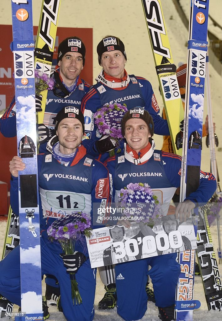 Team Norway <a gi-track='captionPersonalityLinkClicked' href=/galleries/search?phrase=Anders+Bardal&family=editorial&specificpeople=2146620 ng-click='$event.stopPropagation()'>Anders Bardal</a> (top left), <a gi-track='captionPersonalityLinkClicked' href=/galleries/search?phrase=Anders+Jacobsen+-+Ski+Jumper&family=editorial&specificpeople=12186216 ng-click='$event.stopPropagation()'>Anders Jacobsen</a> (bottom left), Rune Velta (top right) and Anders Fannemel (bottom right) celebrate victory of FIS Ski Jumping World Cup Large Hill Team competition in Lahti Ski Games in Lahti, Finland on March 7, 2015. AFP PHOTO / LEHTIKUVA / HEIKKI SAUKKOMAA