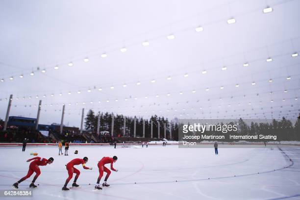 Team Norway compete in the men's team pursuit during day three of the World Junior Speed Skating Championships at Oulunkyla Sports Park on February...