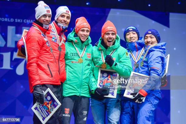 Team Norway Team Germany and Team Japan during the Awards Ceremony of Team Sprint LH / 2 x 77 km in Nordic Combined at FIS Nordic World Ski...
