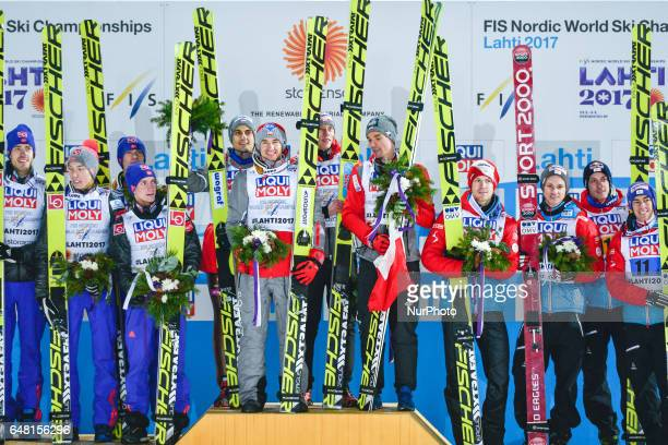 Team Norway Team Poland and Team Austria the podium of Men Large Hill Team final in ski jumping at FIS Nordic World Ski Championship 2017 in Lahti On...