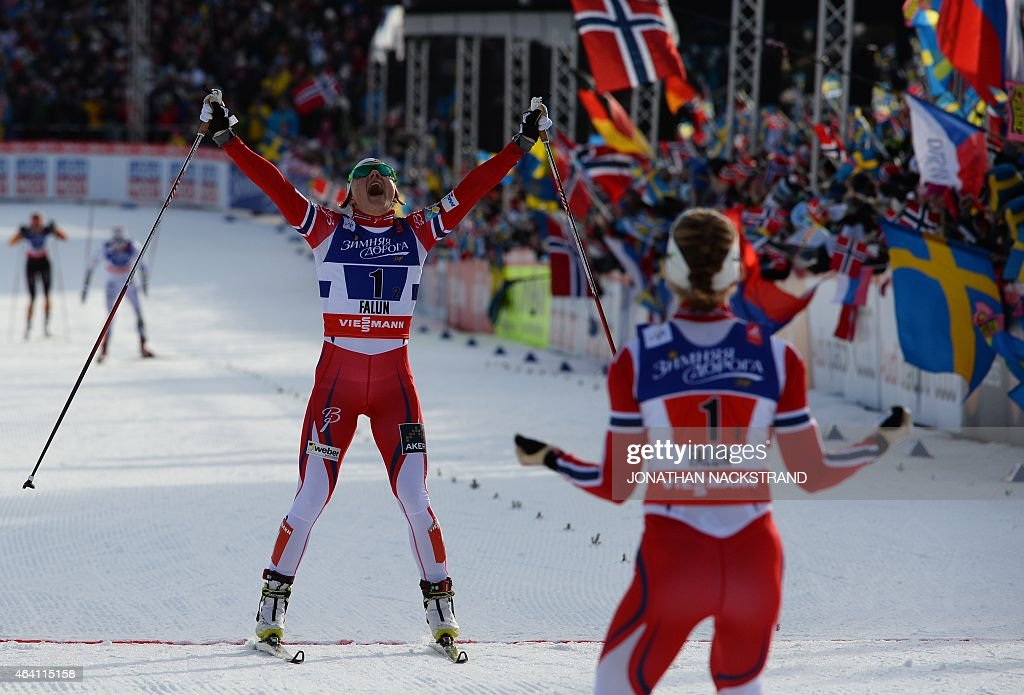 Team Norway's <a gi-track='captionPersonalityLinkClicked' href=/galleries/search?phrase=Maiken+Caspersen+Falla&family=editorial&specificpeople=5646017 ng-click='$event.stopPropagation()'>Maiken Caspersen Falla</a> (front) and <a gi-track='captionPersonalityLinkClicked' href=/galleries/search?phrase=Ingvild+Flugstad+Oestberg&family=editorial&specificpeople=7427144 ng-click='$event.stopPropagation()'>Ingvild Flugstad Oestberg</a> (R) react at the finish line of the ladies cross-country 6 x1,2 km free team sprint final during the 2015 FIS Nordic World Ski Championships in Falun, Sweden, on February 22, 2015. AFP PHOTO / JONATHAN NACKSTRAND