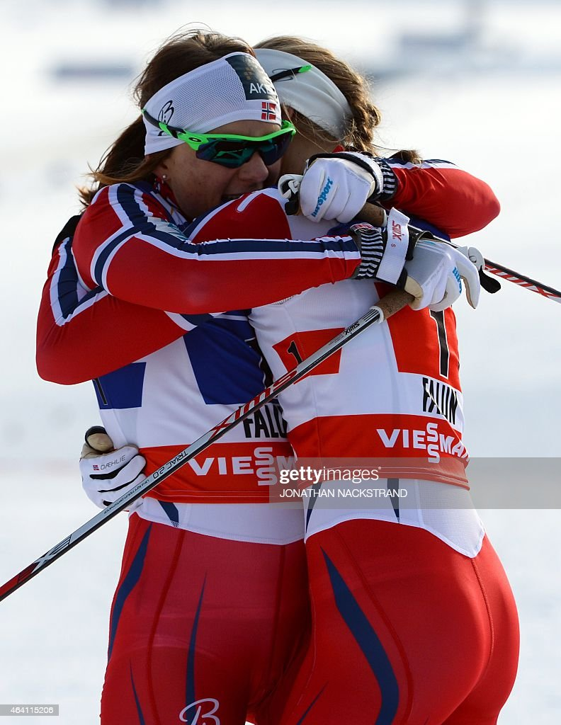 Team Norway's <a gi-track='captionPersonalityLinkClicked' href=/galleries/search?phrase=Maiken+Caspersen+Falla&family=editorial&specificpeople=5646017 ng-click='$event.stopPropagation()'>Maiken Caspersen Falla</a> (L) and <a gi-track='captionPersonalityLinkClicked' href=/galleries/search?phrase=Ingvild+Flugstad+Oestberg&family=editorial&specificpeople=7427144 ng-click='$event.stopPropagation()'>Ingvild Flugstad Oestberg</a> (R) react at the finish line of the ladies cross-country 6 x1,2 km free team sprint final during the 2015 FIS Nordic World Ski Championships in Falun, Sweden, on February 22, 2015. AFP PHOTO / JONATHAN NACKSTRAND