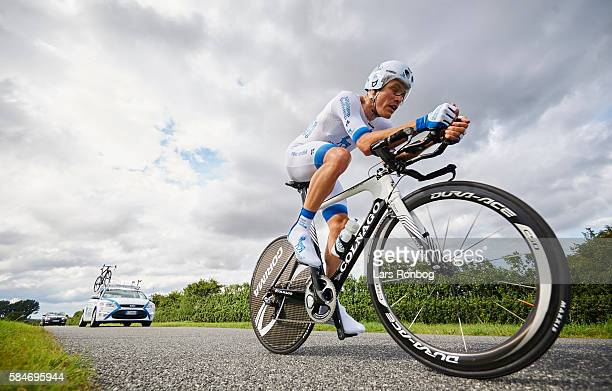 Team Novo Nordisk in action during stage four at the Postnord Danmark Rundt race time trial in Nyborg on July 30 2016 in Nyborg Denmark