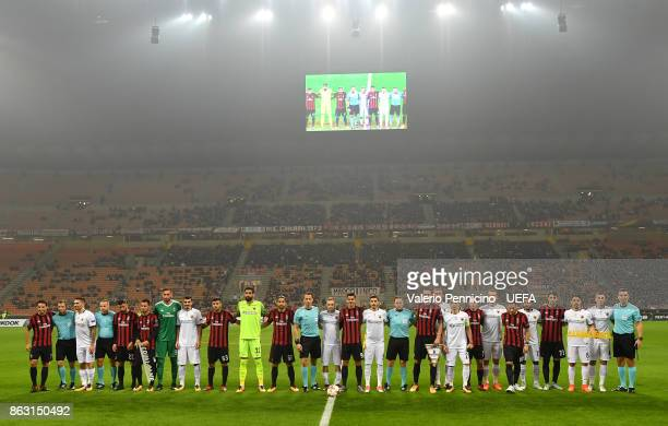 Team of AC Milan and team of AEK Athens line up with banner #Equalgame during the UEFA Europa League group D match between AC Milan and AEK Athen on...