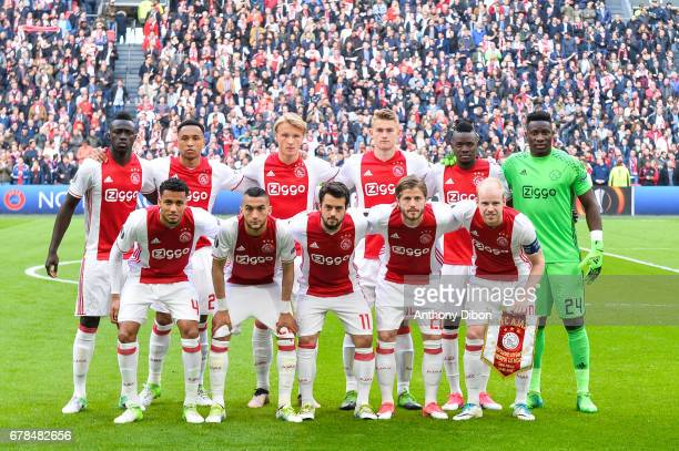 Team of Ajax line up Davinson Sanchez Kenny Tete Kasper Dolberg Matthijs de Light Bertrand Traore and Andre Onana Jairo Riedewald Hakim Ziyech Amin...
