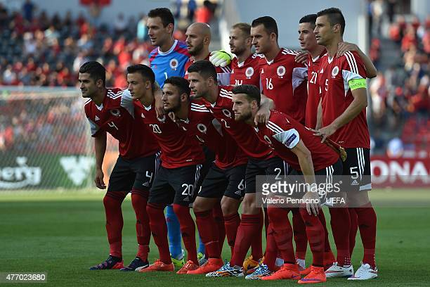 Team of Albania line up during the international friendly match between Albania and France at Elbasan Arena on June 13 2015 in Elbasan Albania