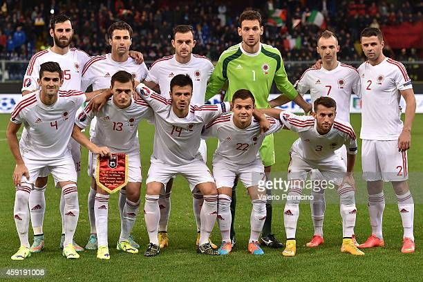 Team of Albania line up prior to the International Friendly match between Italy and Albania at Luigi Ferraris on November 18 2014 in Genoa Italy