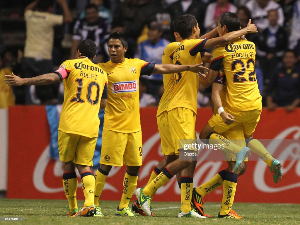 Team of America celebrate a goal during a match between Puebla v America as part of the Apertura 2012 Liga Mx at Cuauhtemoc Stadium on Octuber 25, 2012 in Puebla, Mexico.