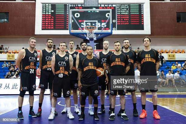 Team of Australia line up for the team photos before during the 2017 SinoAustralia Men's International Basketball Challenge at Beijing Sports...
