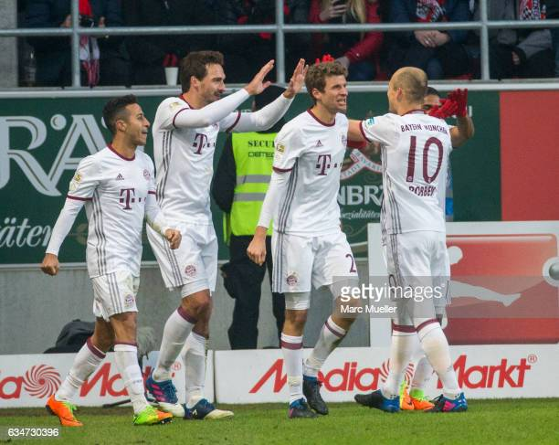 Team of Bayern Munich celebrate the opening goal during the Bundesliga match between FC Ingolstadt 04 and Bayern Muenchen at Audi Sportpark on...
