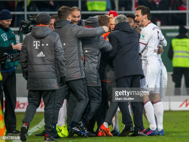Team of Bayern Munich celebrate the second goal during the Bundesliga match between FC Ingolstadt 04 and Bayern Muenchen at Audi Sportpark on...