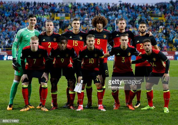 team of Belgium with Thibaut Courtois goalkeeper of Belgium Toby Alderweireld defender of Belgium Thomas Meunier defender of Belgium Marouane...