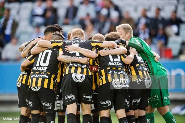 Team of BK Hacken before the Allsvenskan match between IFK Goteborg and BK Hacken at Gamla Ullevi on August 20 2017 in Gothenburg Sweden
