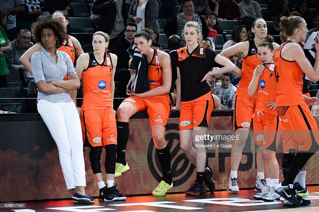 Team of Bourges is dejected during the French Cup final match between Bourges and Lattes Montpellier at Hotel Accor Arena Bercy on 1st May, 2016 in Paris, France.