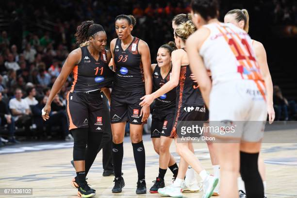 Team of Bourges looks happy during the women's Final of the French Cup between Charleville Mezieres and Bourges Basket at AccorHotels Arena on April...