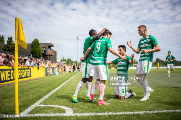 Team of Bremen celebrate their first goal scoring by Leon Sitz during the B Juniors German Championship Semi Final match between Borussia Dortmund...