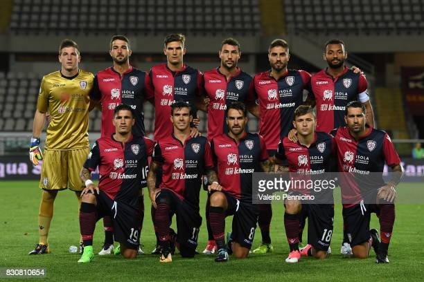 Team of Cagliari Calcio line up during the TIM Cup match between Cagliari Calcio and US Citta di Palermo at Stadio Olimpico on August 12 2017 in...