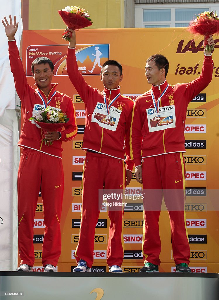 Team of China pose for photo during awarding in the competition of men's 50 km IAAF World Race Walking Cup 2012 on May 13, 2012 in Saransk, Russia.