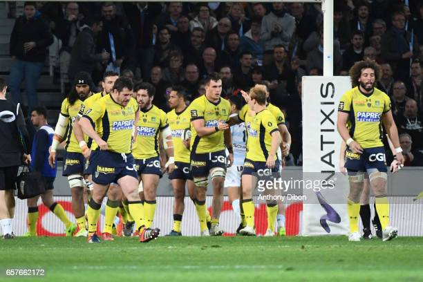 Team of Clermont celebrates a try during the Top 14 match between Racing 92 and Clermont Auvergne at Stade PierreMauroy on March 25 2017 in Lille...
