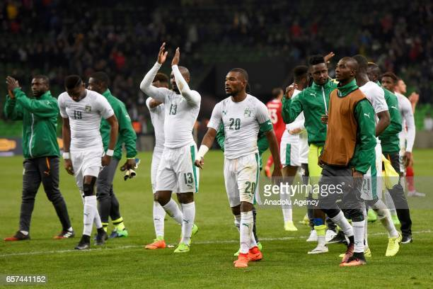 Team of Cote d'Ivoire's are seen following the friendly football match at Krasnodar Stadium in Krasnodar Russia on March 242017
