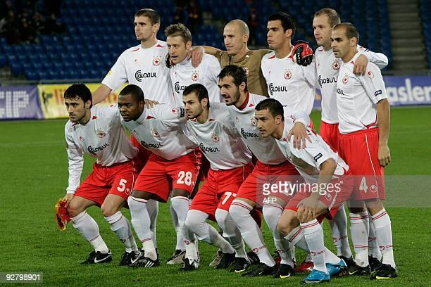 Team of CSKA Sofia pose before their UEFA Europa League group E football game FC Basel 1893 versus CSKA Sofia on November 5 2009 in Basel AFP PHOTO /...