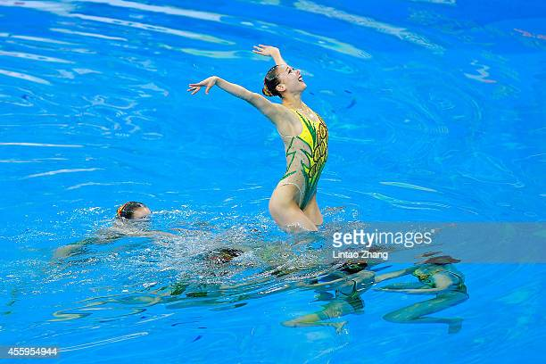 Team of Democratic People's Republic of Korea perform during the team synchronised swimming Free Combination Final on day four of 2014 Asian Games at...