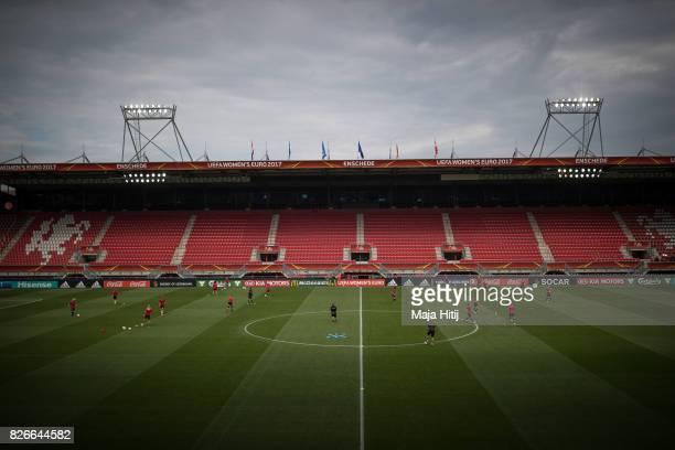 Team of Denmark during a training prior UEFA Women's Euro 2017 Final against Netherlands at De Grolsch Veste Stadium on August 5 2017 in Enschede...