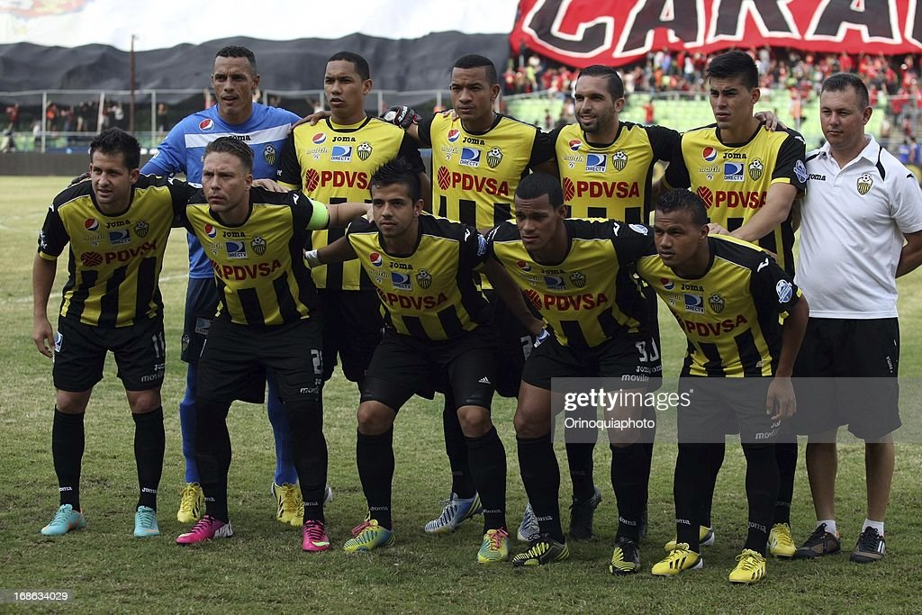 Team of Deportivo Tachira pose for a photo during a match between Caracas FC and Deportivo Tachira as part of the Torneo Clausura 2013 at Olympic stadium on May 12, 2013 in Caracas, Venezuela.