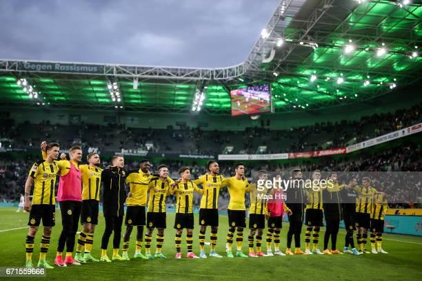Team of Dortmund celebrates after the Bundesliga match between Borussia Moenchengladbach and Borussia Dortmund at BorussiaPark on April 22 2017 in...