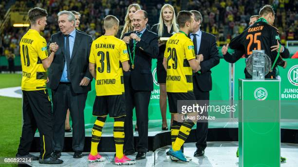 Team of Dortmund get their medals after they won the U19 German Championship Final after the match between Borussia Dortmund and FC Bayern Muenchen...