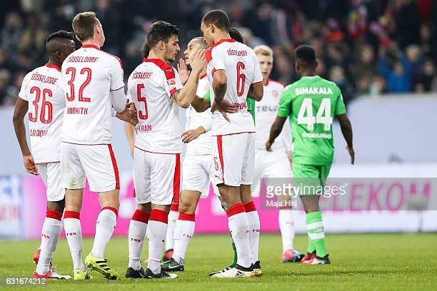 Team of Duesseldorf celebrates after winning the 3rd Place Match of Telekom Cup 2017 between Fortuna Duesseldorf and Borussia Moenchengladbach at...