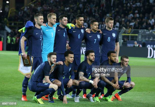 Team of England poses before the international friendly match between Germany and England at Signal Iduna Park on March 22 2017 in Dortmund Germany