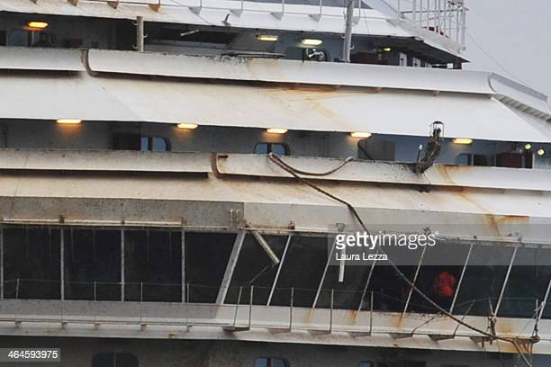 A team of experts inspect the wreck of the ship Costa Concordia on January 23 2014 in Isola del Giglio Italy Today for the first time since the...
