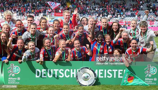 Team of FC Bayern Muenchen celebrates winning the Allianz FrauenBundesliga Championship titel after the Allianz FrauenBundesliga match between FC...