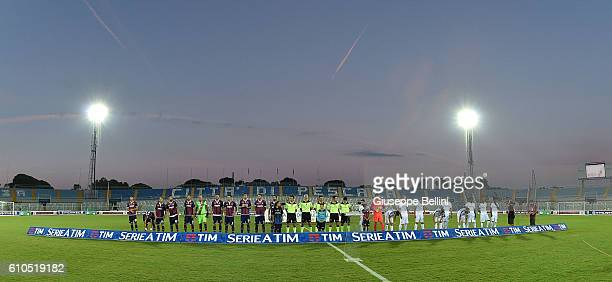 Team of FC Crotone and Team of Atalanta BC prior the Serie A match between FC Crotone and Atalanta BC at Adriatico Stadium on September 26 2016 in...