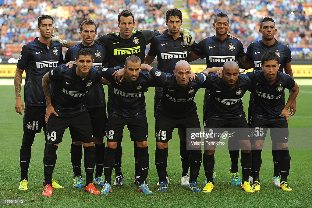 Team of FC Internazionale Milano line up prior to the TIM cup match between FC Internazionale Milano and AS Cittadella at Stadio Giuseppe Meazza on August 18, 2013 in Milan, Italy.