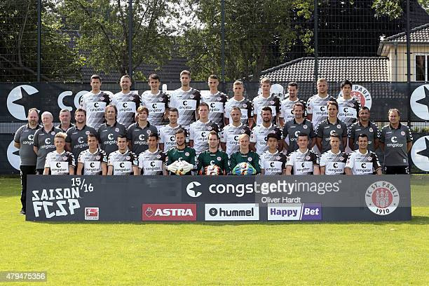 Team of FC St Pauli poses during the Team Presentation Back Line Soeren Gonther John Verhoek Ante Budimir Lasse Sobiech Philipp Ziereis Dennis Rosin...