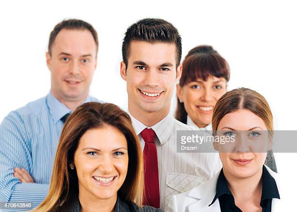 Team of five young successful caucasian professional business people