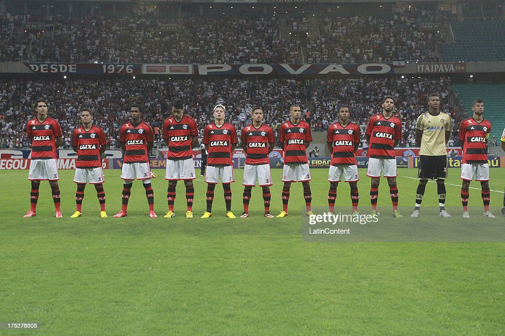 Team of Flamengo pose prior a match between Flamengo and Bahia as part of the Brazilian Serie A Championship at Arena Fonte Nova Stadium on July 31, 2013 in Salvador, Brasil.
