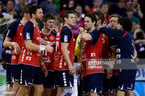 Team of Flensburg appears frustrated after the Bundesliga handball match between Flensburg Handewitt and Rhein Neckar Loewen at the Flens Arena on...