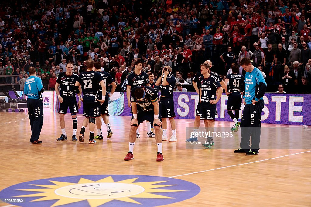 Team of Flensburg appears frustrated after the DKB REWE Final Four Finale 2016 between SG Flensburg Handewitt and SC Magdeburg at Barclaycard Arena on May 1, 2016 in Hamburg, Germany.