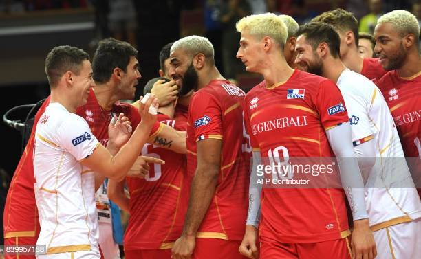 Team of France celebrates victory after the group D match between France and Netherlands of the 2017 CEV Men's Volleyball European Championship at...