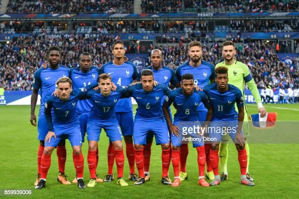 Team of France line up Samuel Umtiti Blaise Matuidi Raphael Varane Djibril Sidibe Olivier Giroud and Hugo Lloris Antoine Griezmann Lucas Digne...