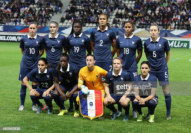 Team of France poses before the women's international friendly match between France and The Netherlands at Stade Jean Bouin on October 23 2015 in...