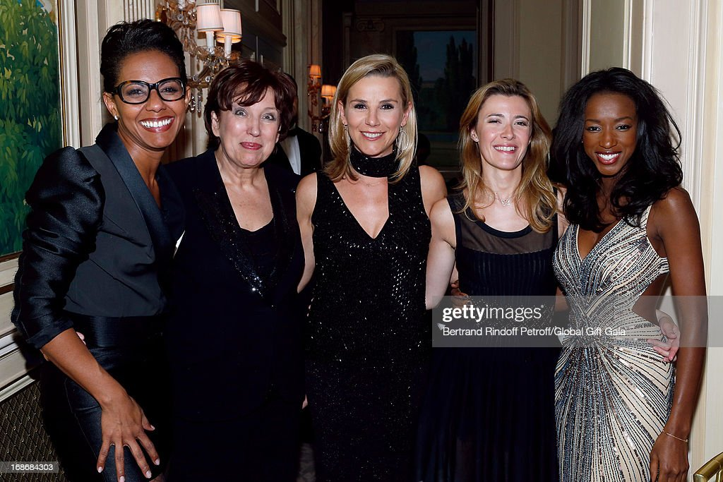 Team of french TV show 'Le grand 8' Audrey Pulvar, Roselyne Bachelot Narquin, Laurence Ferrari, Elisabeth Bost and Hapsatou Sy attend 'Global Gift Gala' at Hotel George V on May 13, 2013 in Paris, France.