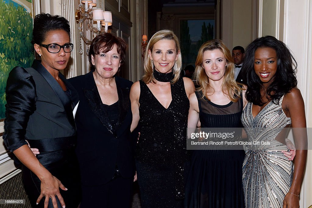 Team of french TV show 'Le grand 8' Audrey Pulvar, <a gi-track='captionPersonalityLinkClicked' href=/galleries/search?phrase=Roselyne+Bachelot&family=editorial&specificpeople=2369544 ng-click='$event.stopPropagation()'>Roselyne Bachelot</a> Narquin, <a gi-track='captionPersonalityLinkClicked' href=/galleries/search?phrase=Laurence+Ferrari&family=editorial&specificpeople=777181 ng-click='$event.stopPropagation()'>Laurence Ferrari</a>, Elisabeth Bost and Hapsatou Sy attend 'Global Gift Gala' at Hotel George V on May 13, 2013 in Paris, France.